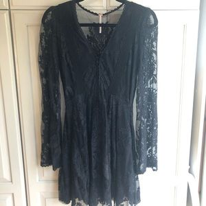 Free People Long Sleeve Black Dress